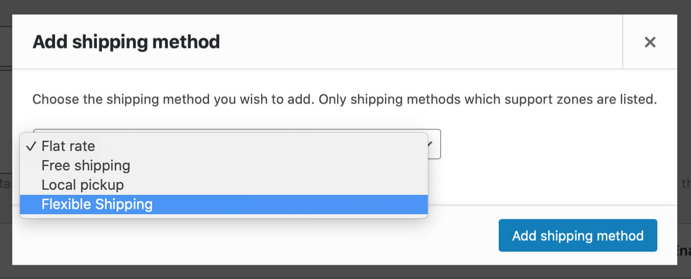WooCommerce Add shipping method window