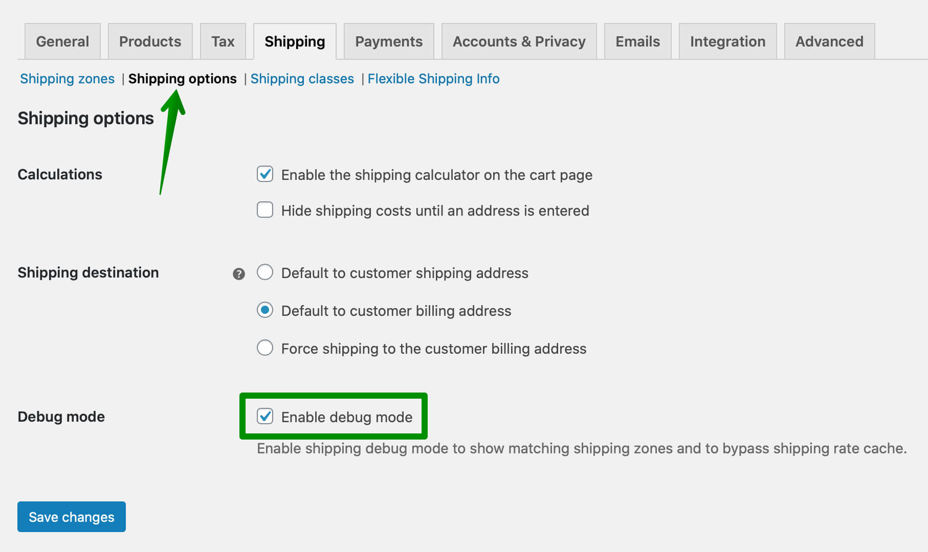 WooCommerce shipping Debug mode