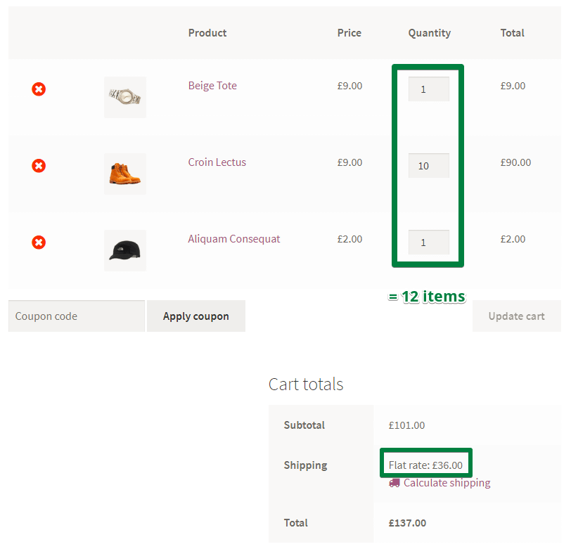 Flat rate in cart totals (screenshot #2)