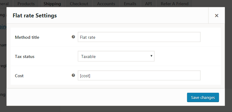 [cost] formula in Flat rate settings