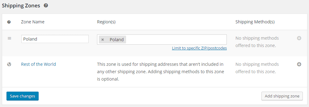 Add shipping zone