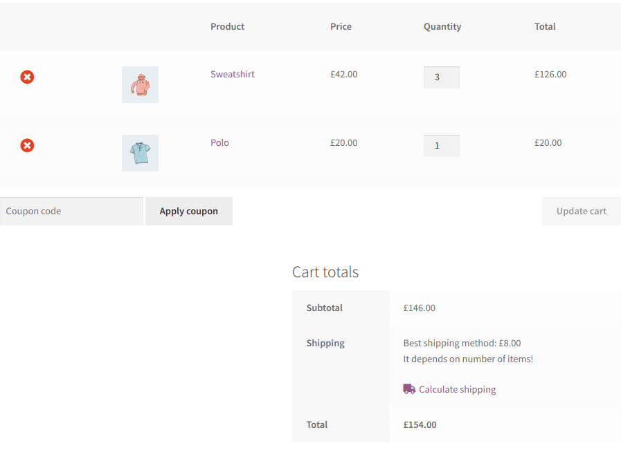 First Example: Two products in cart
