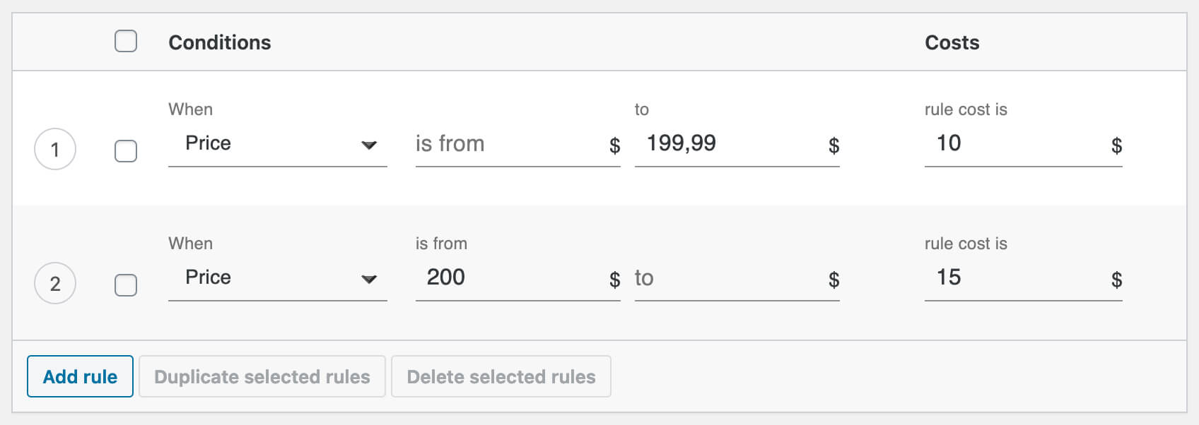 Shipping cost calculation rules based on price