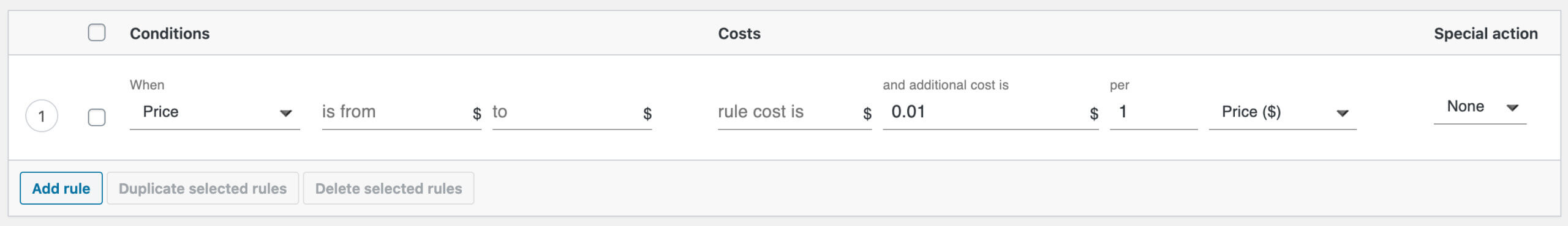 Order total's percentage shipping cost