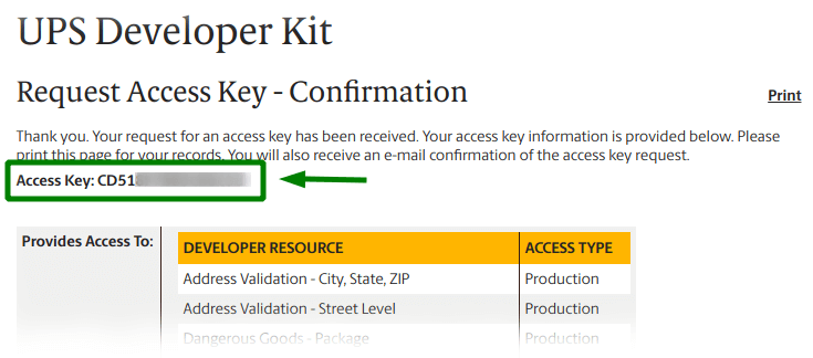 getting UPS access key - confirmation