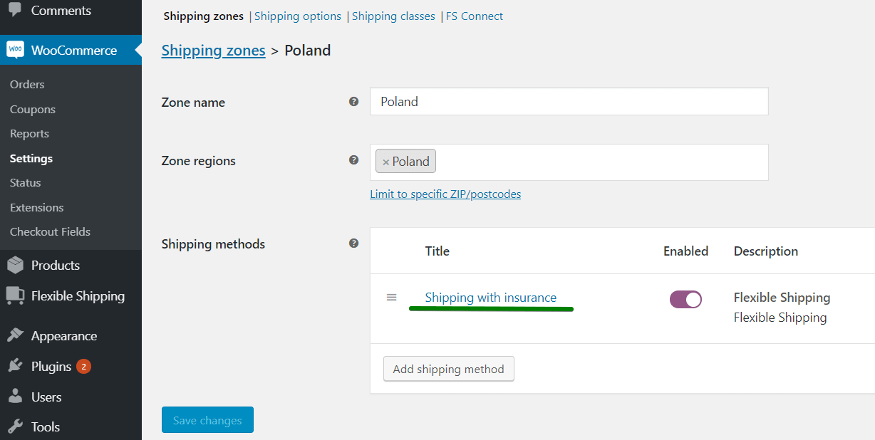 Edit shipping method to add shipping insurance in WooCommerce