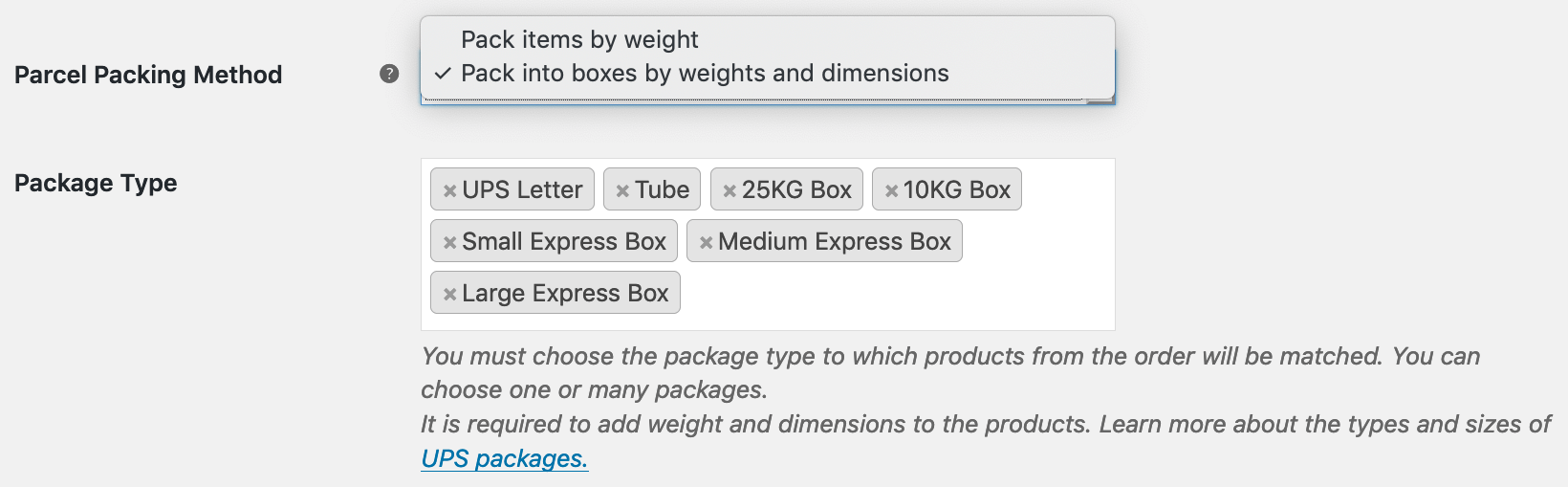 UPS Live Rates - pack into boxes by weights and dimensions