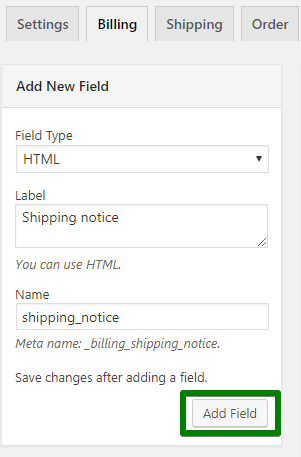 add new html field in woocommerce checkout page