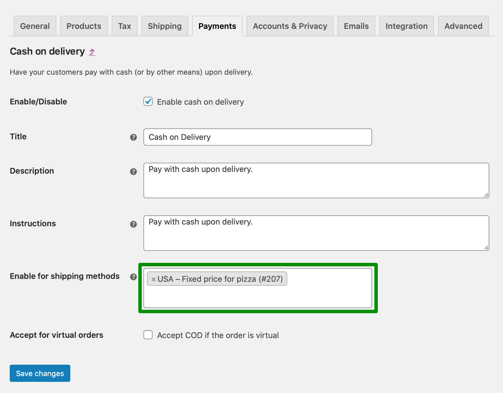 COD settings: Enable for shipping methods