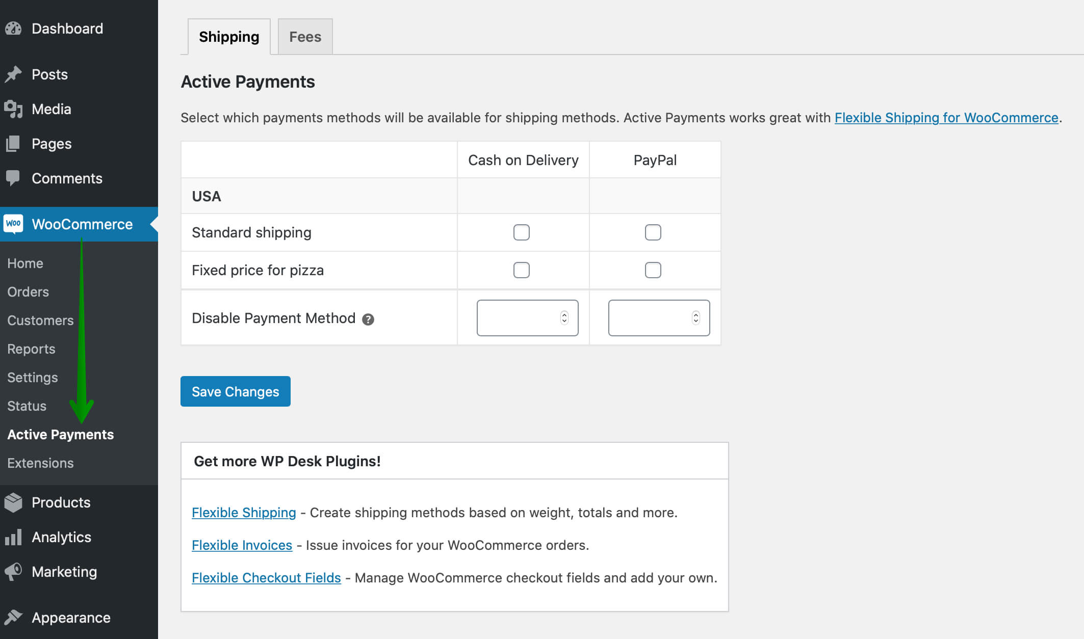 WooCommerce Active Payments settings