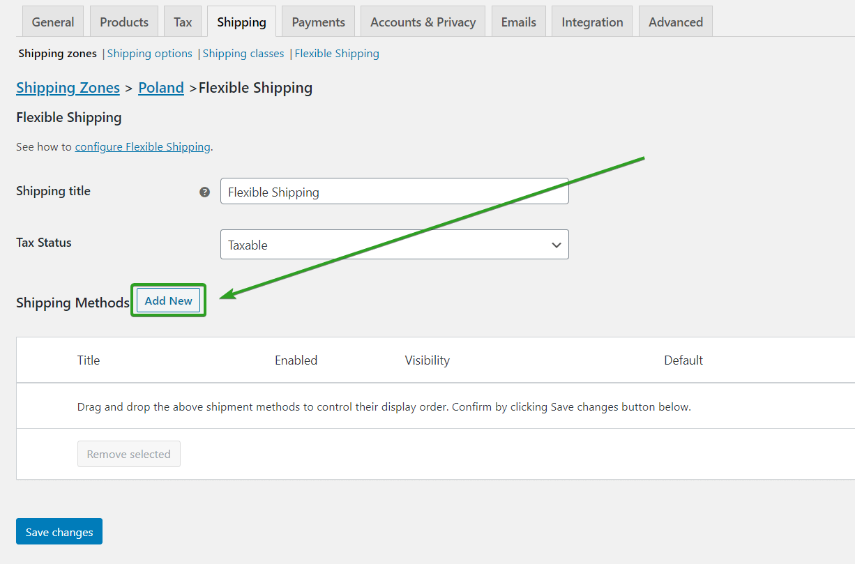 Add a new shipping method in Flexible Shipping plugin