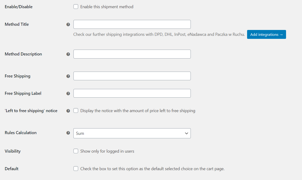 Flexible Shipping method settings