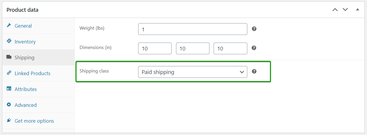 add products to new shipping class