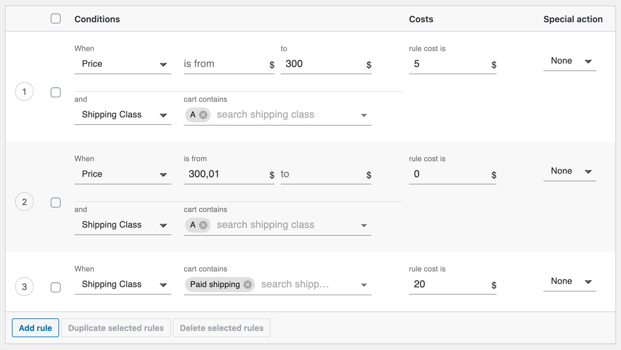 Combine free and paid shipping over amount