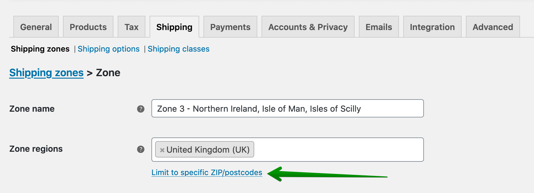 UK Shipping zones configuration - Limit to specific ZIP/postcodes
