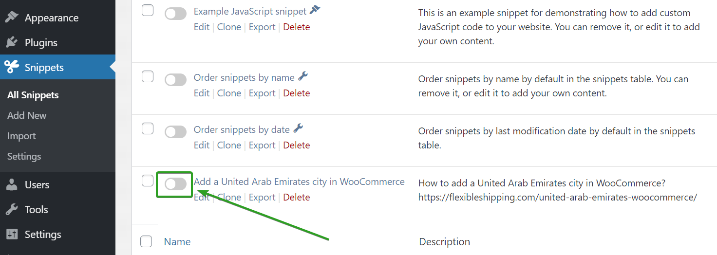 Activate new custom code in Code Snippets plugin