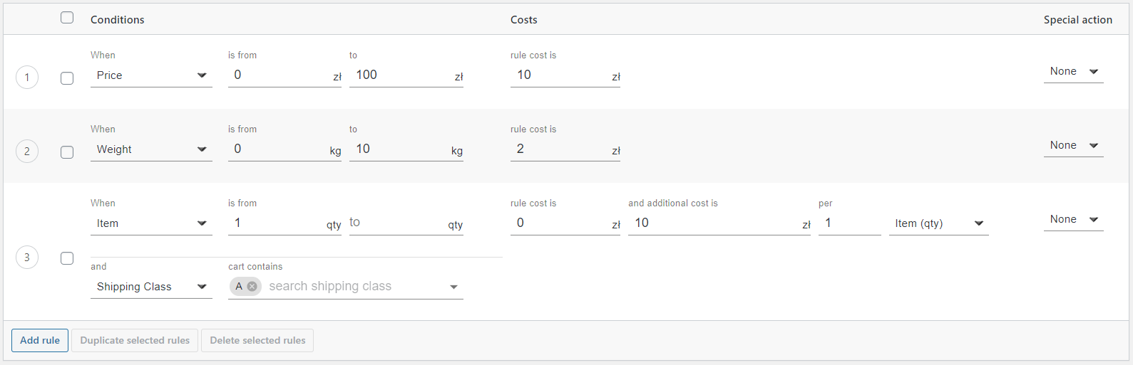 New table rate interface