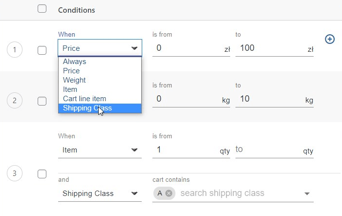 Shipping classes