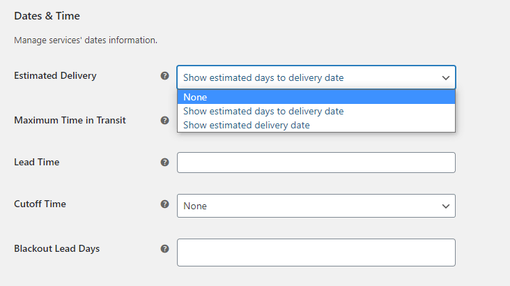 estimated delivery options in the DHL Express WooCommerce PRO plugin