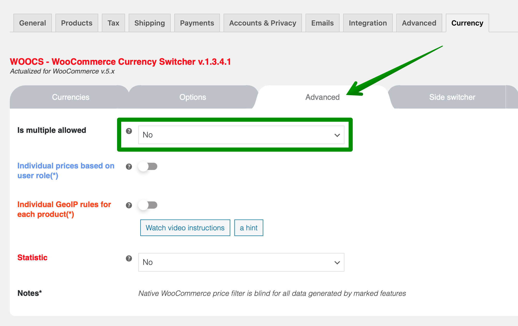 WOOCS Currency Switcher Advanced tab