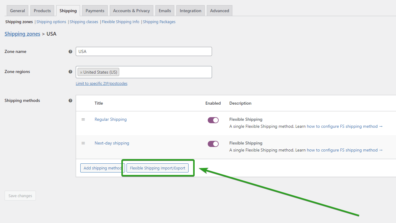 Flexible Shipping Import Export button