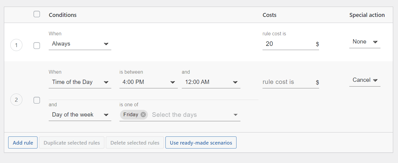 Hide shipping method based on day and time of day