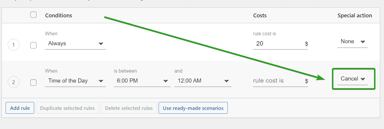 hide shipping method based on time of the day