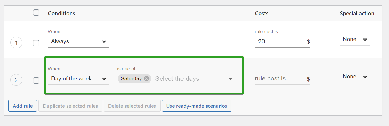 new shipping rule based on Day of the week
