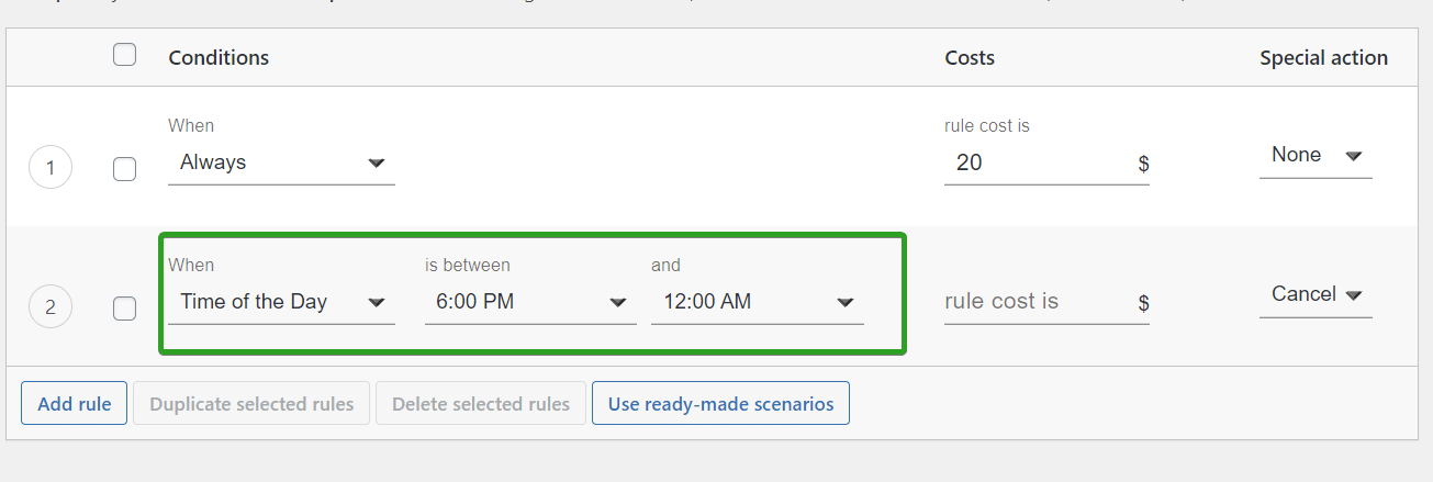 new shipping rule based on Time of the  day