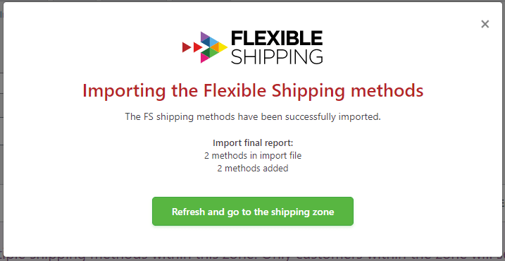 shipping methods import confirmation