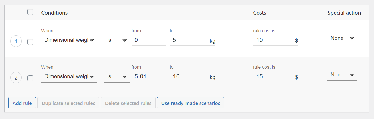 Volumetric weight based shipping in WooCommerce